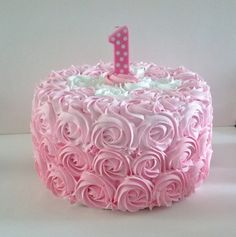 Large Pink Rosette First Birthday Fake by FakeCupcakeCreations, $48.00