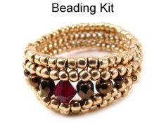 Crystal Landscape Ring Herringbone Beading Pattern Tutorial Kit | Simple Bead Kits