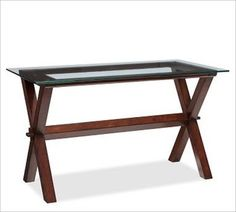 Ava Wood and Glass Desk - Pottery Barn Glass Office, Glass Desk, Wood Glass, Home Office Furniture, Accent Furniture, Furniture Shopping, Bedroom Furniture, Eclectic Desks, Pottery Barn Desk