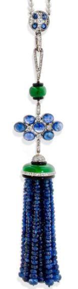 AN ART DECO SAPPHIRE, DIAMOND, ONYX AND PLATINUM SAUTOIR, BY TIFFANY & CO. Composed of cabochon and faceted sapphires, jade, onyx, diamonds and fine pearls. Signed Tiffany.