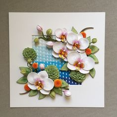 From different options compositions with white #orchids I chose this. The background I made by weaving paper strips 2 mm.