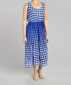 Love this Royal & Blue Dot Maxi Dress - Plus on #zulily! #zulilyfinds