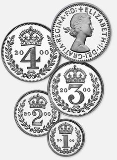 Maundy money as such started in the reign of Charles II with an undated issue of hammered coins in 1662. The coins were a fourpenny, threepenny, twopenny and one penny piece but it was not until 1670 that a dated set of all four coins appeared.    Prior to this, ordinary coinage was used for Maundy gifts, silver pennies alone being used by the Tudors and Stuarts for the ceremony.