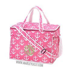 Monogrammed Hot Pink Anchors Large Cooler Bag