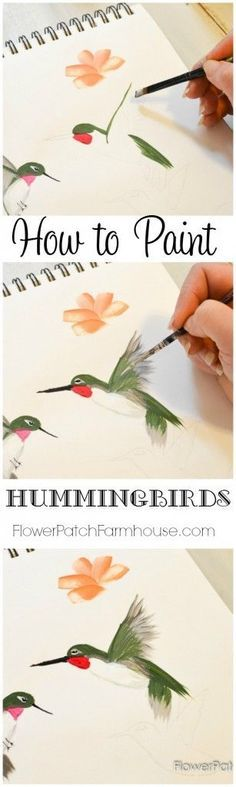 Come learn how to Paint a Hummingbird one stroke at a time. This quick and easy tutorial will have you painting beautiful hummingbirds in no time and it is so much fun! FlowerPatchFarmhouse.com: