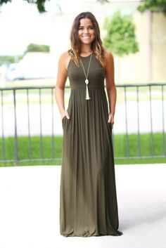 Olive maxi dress with pockets dresses for my closet 服 装 Sexy Summer Dresses, Summer Work Outfits, Women's Dresses, Cute Dresses, Dress Summer, Awesome Dresses, Outfit Summer, Dresses Online, Cheap Dresses