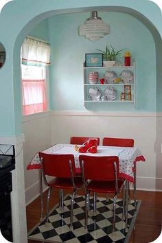 Teal and Red Kitchen Decor. 20 Teal and Red Kitchen Decor. Deep & Bright 10 Ways with Red & Teal Cute Kitchen, Vintage Kitchen, Kitchen Nook, Kitchen Ideas, Aqua Kitchen, 1950s Kitchen, Turquoise Kitchen, Kitchen Dining, Turquoise Walls