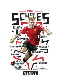Paul Scholes Manchester United Print 2 by KieranCarrollDesign Manchester United Wallpaper, Manchester United Legends, Manchester United Players, Football Design, Football Players, Football Art, Vintage Football, Basketball, Heroes