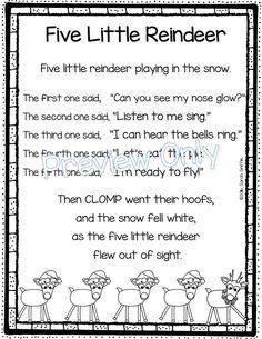 Five Little Reindeer - Christmas Poem for Kids