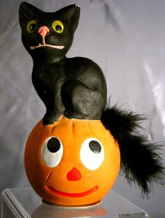 Large Halloween German Composition Black Cat, Pumpkin Candy Container | eBay