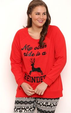 be40d045117 Deb Shops Plus Size Long Sleeve French Terry Top with Reindeer Ride Screen   12.25 Deb Shops
