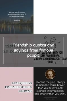 Friendship quotes and sayings from famous people Short Friendship Quotes, I Promise, Famous People, Sayings, Lyrics, Word Of Wisdom, Best Friend Quotes, Celebrities, Quotes