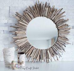 DIY Sunburst Driftwood Mirror: http://www.completely-coastal.com/2011/08/diy-driftwood-sunburst-mirror-tutorial.html