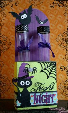 Fright Night Test Tube Treat Box by brandilovesctmh - Cards and Paper Crafts at Splitcoaststampers Halloween Goodies, Halloween Candy, Holidays Halloween, Candy Crafts, Paper Crafts, Test Tube Crafts, Halloween Treat Holders, Fright Night, Pretty Packaging