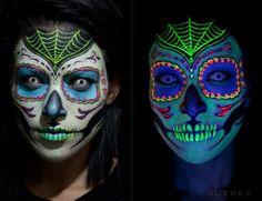 glow in the dark, dias de los muertas, day of the dead make up ideasv