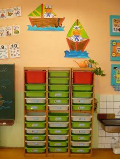 Námořnická výzdoba 1.B - šuplíky na VV Bookcase, Classroom, Shelves, Teaching, Holiday Decor, Home Decor, Album, Google, Image