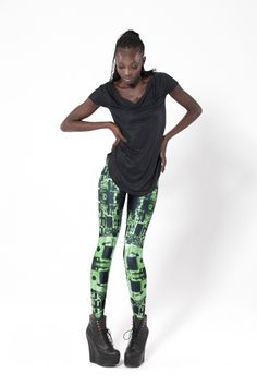 fashion, clothes, clothing, black milk clothing, bottoms, leggings, patterns, circuit boards, green, black, technology