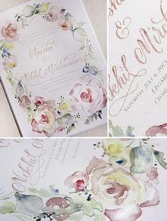 Cabbage Rose and Peony #watercolor #weddinginvitation #paintedinvitation