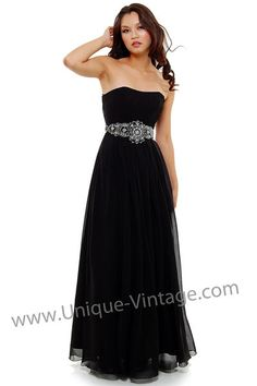 Black Chiffon Empire Waisted Beaded Prom Gown - Size 4 to 20 - Unique Vintage - Cocktail, Pinup, Holiday & Prom Dresses. on Wanelo