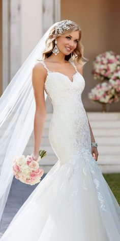 Stella York Fit and Flare Wedding Dress with Illusion Back style 6314 b / http://www.deerpearlflowers.com/stella-york-fall-2016-wedding-dresses/