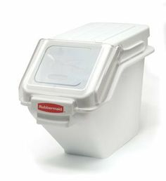Rubbermaid FG9G5700WHT 5.4 Gallon Shelf Ingredient Bin W/ 2 Cup Scoop by Adcraft. $130.00. Patent-pending quick one handed access while stacked and intergrated. measuring tool increases preparation effeciency, space optimization. NSF Certified. Color: white. scoop and hook provide dedicated scoop storage for safe ingredient portioning.. and promotes food safety compliance. Integrated 2 cup safety portioning. Patent-pending quick one handed access while stacked and intergrated m...