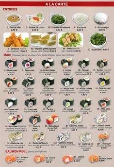 Sashimi Sushi, Nori Sushi, Dessert Chef, Sushi Roll Recipes, Types Of Sushi, Party Food Platters, Sushi Party, Sushi Love, Restaurant Menu Design