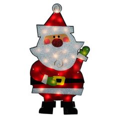 Standing Tinsel Santa Claus Lighted Christmas Yard Art Decoration