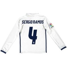 Real Madrid Home Jersey 2016/17 - Kids - Long sleeve - with Sergio Ram: The Real Madrid Home Shirt 2016-17… #RealMadridShop #RealMadridStore