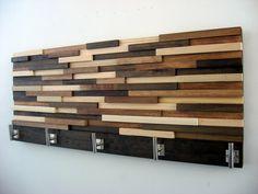 Modern Wood Coat Rack, Rustic Coat Rack, Modern Coat Hooks, Home Decor, Wood Wall Art, Towel Rack by ModernRusticArt on Etsy https://www.etsy.com/listing/211113934/modern-wood-coat-rack-rustic-coat-rack
