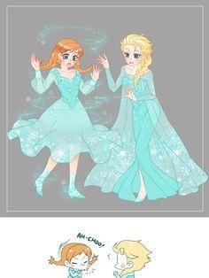 The cold never bothered Elsa. but I'm not sure about Anna. I love Anna's dress, though! Elsa has great taste. Frozen Disney, Disney Pixar, Disney Amor, Arte Disney, Anna Frozen, Disney Memes, Disney Marvel, Disney Fan Art, Disney And Dreamworks