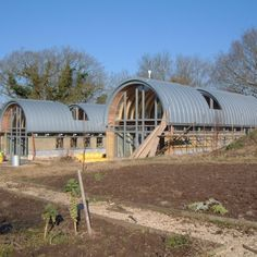 Curved Zinc Standing Seam Panels to Barrel Vaulted Roofs. Arch House, Dome House, Barn House Conversion, Barn Conversions, Architecture Building Design, Container Architecture, Contemporary Barn, Contemporary Architecture, Quonset Hut Homes