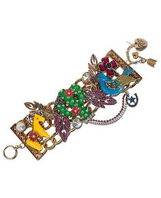 Betsey Johnson Bracelet, Gold Tone Cactus Charm Wide Toggle Bracelet