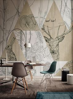 - Wall&Decò has presented new contemporary wallpaper collection. From charcoal drawing to wall painting, from fab Deco Design, Wall Design, House Design, Interior Walls, Home Interior Design, Shabby Chic Tapete, Contemporary Wallpaper, Wall Treatments, New Wall