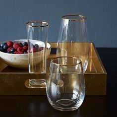 Stemless Glassware Set – Gold Rimmed by West Elm Glass Kitchen Tables, Glass Table, Cocktail Shaker, West Elm, Gold Rimmed Glasses, Teak, Stemless Wine Glasses, Holiday Tables, Hostess Gifts
