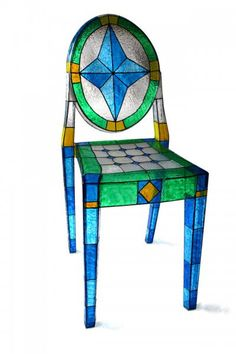 Stained Glass Acrylic Accent Chair by chipcox1 on Etsy, $1299.00  Amazing!