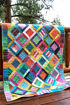 Quilt Lap Throw Colorful Ombre Stripes V&Co by PiecesOfPine