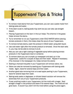 Ever have trouble getting your Tupperware clean?  Here's some helpful tips and tricks