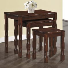 @Overstock.com - Black Cherry Solid Wood 3 Piece Nesting Table Set - This three piece nesting table set features attractive black cherry solid wood for a look that fits any decor. Intricate detailing on the trim and legs sets this nesting table apart.  http://www.overstock.com/Home-Garden/Black-Cherry-Solid-Wood-3-Piece-Nesting-Table-Set/6979408/product.html?CID=214117 $123.99