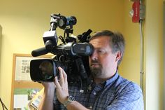 -The Power of Flowers - We had a very special visit this past spring - David Robichaud, from WBZ, Channel 4 visited our workshop and then followed us to a delivery!  (yep! then we were on TV!)   - This is Matt Colson - Robi's cameraman on our visit!