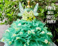 Dog dress fancy feast inspiration from Tinker Bell,Dog dress fancy color green (Limited)