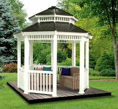 """Nothing says """"summer"""" quite like a gazebo. Avid do-it-yourselfers may already possess the skills and tools to build a gazebo themselves; Gazebo Canopy, Outdoor Gazebos, Backyard Gazebo, Outdoor Spaces, Outdoor Living, Outdoor Decor, Outdoor Retreat, Zen Space, Garden Structures"""