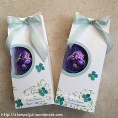 Verpackung Osterhase Milka Himmelblau Bermudablau Farngruen Blumen Itty Bitty Band Fenster Giveaway Mitbringsel Stampin Up