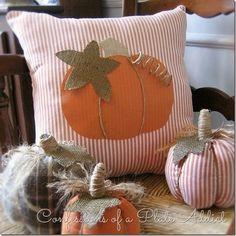 Текстильные тыквы и подушка с аппликацией для осеннего декора (8) (609x610, 288Kb)
