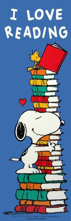 """Charles M. Schulz (1922-2000), American / """"I Love Reading"""" Peanuts bookmark depicts Snoopy hugging a stack of books w/ Woodstock perched on top reading"""