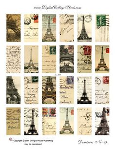 Instant Download 1 inch x 2 inch Digital Collage Sheet Eiffel Tower Dominos DCS-998 French Postcards  Printables, Downloads