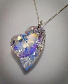 "Devoted 2 U Pendant, A beautiful and stunning asymmetrical Swarovski Crystal Heart (27mm) hung on a silver diamond cut 18"" chain. www.blueapplejewellery.com Blue Apple Jewellery"