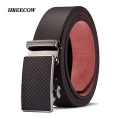 New High quality brand luxury automatic buckle cowhide belt leather belts for men Geometric pattern Hot Sale