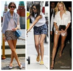 Classic white blouse paired with bright patterned shorts. Like