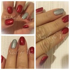 CND Shellac in Tartan Punk and Lecente Flame glitter, accent nail in Ice Vapour over Silver Chrome