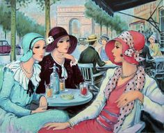 Original Lithograph of François BATET, painter, titled : Aux Champs Elysées. We also propose for sale a large choice of original works of Art and reproductions by contemporary artists Art Deco Illustration, Illustrations, Vintage Images, Vintage Art, Pinturas Art Deco, Moda Art Deco, Art Deco Cards, Art Deco Paintings, Estilo Art Deco